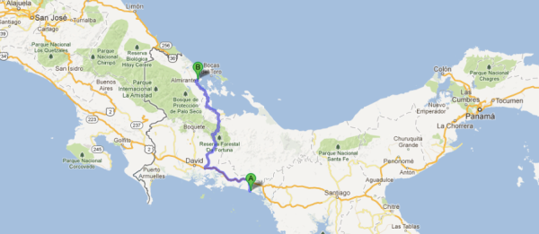 Playa las Lajas - Almirante 233 km