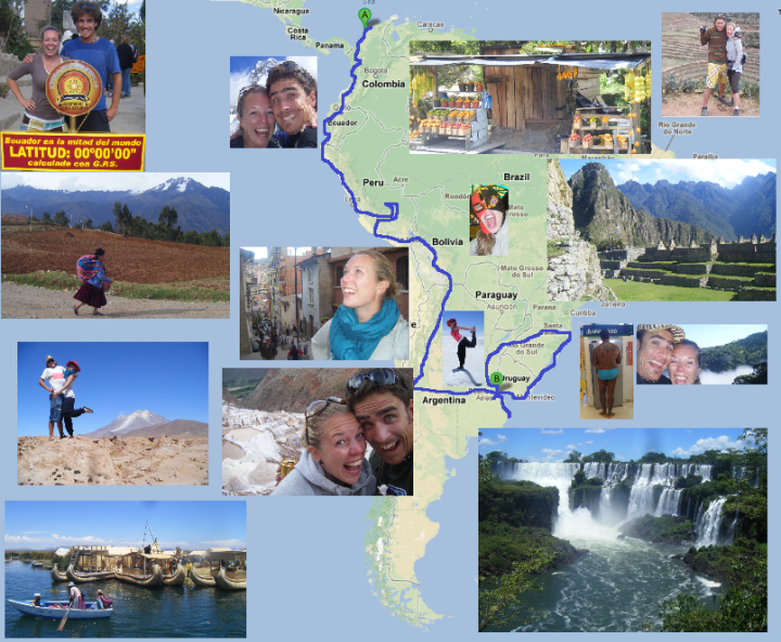 Backpacking route through South America 2008