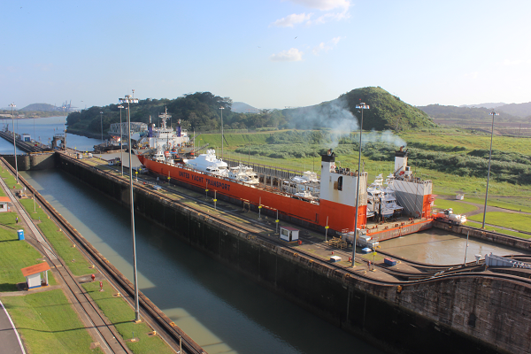 ship almost through the panama canal